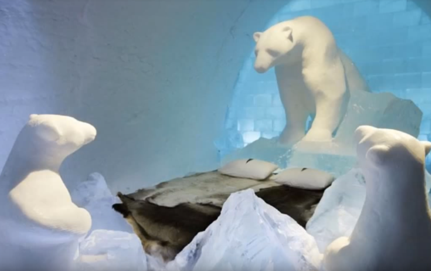 Icehotel. Фото Скриншот https://www.youtube.com/watch?v=vplErh8aoEM, Скриншот Youtube