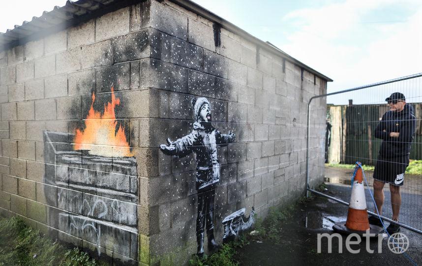 Новая картина Бэнкси находится на стенах гаража в Уэльсе. Фото Getty