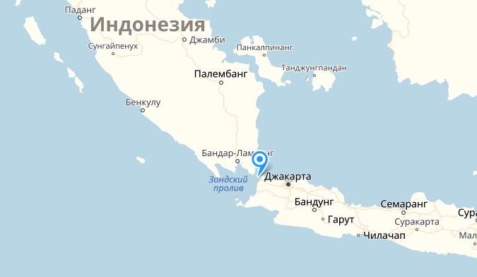 Цунами в Зондском проливе, разделяющем острова Ява и Суматра, было зафиксировано в ночь на воскресенье. Фото Скриншот Яндекс. Карты.