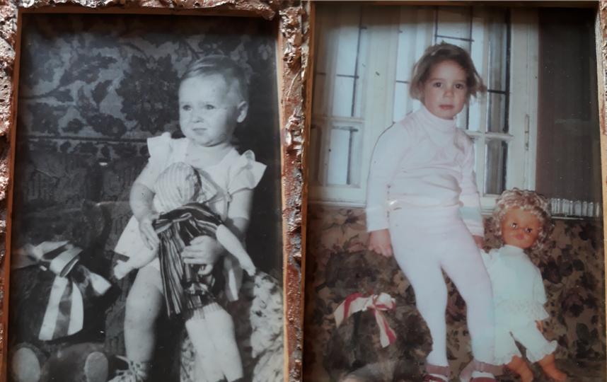 На фотографиях изображена я и моя внучка Алена. Обеим нам на этих фотографиях примерно по два года. Я- в начале пятидесятых годов, внучка - в 2010 году.. Фото Елена Анатольевна