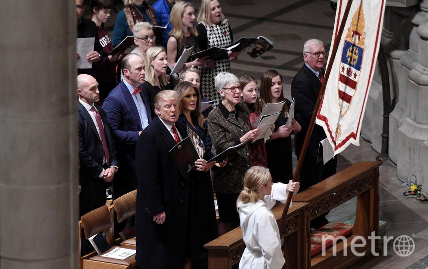 Дональд и Мелания Трамп на вечерней службе. Фото Getty