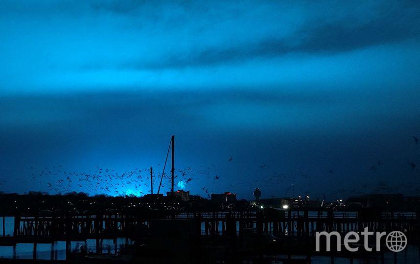 Небо над Манхэттеном и Куинсом окрасилось в яркий синий цвет. Фото Getty