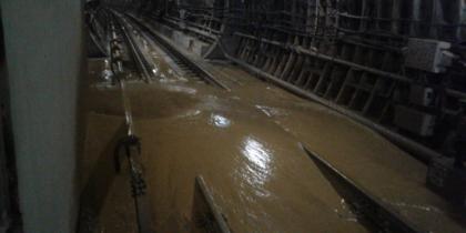 Опубликовано видео с места подтопления тоннеля на