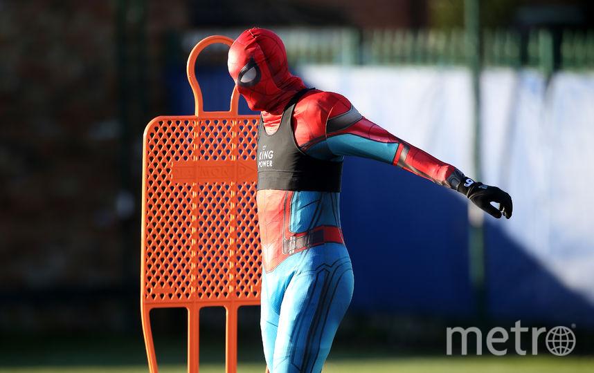 """Нападающий """"Лестера"""" Джейми Варди в костюме Человека-паука. Фото Getty"""