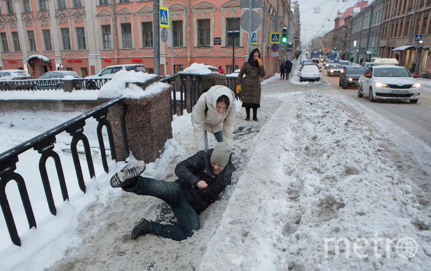 Гололёд – ежегодная угроза для петербуржцев. Фото Сергей Куликов, Интерпресс