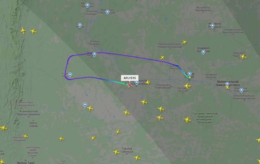 Самолёт снизил высоту полета с десяти до 2,3 километра при подлете к Ханты-Мансийску и сел в местном аэропорту. Фото www.flightradar24.com/