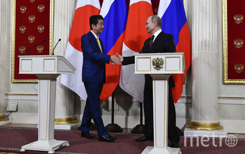 Синдзо Абэ и Владимир Путин. Фото AFP