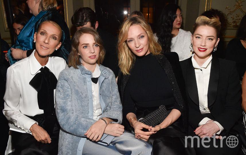 Показ Armani на Неделе моды в Париже. Селин Дион, Ума Турман с дочкой и Эмбер Херд. Фото Getty