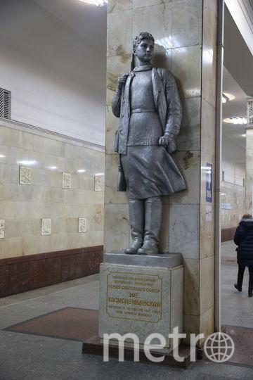 За одной из колонн «Партизанской» архитекторы установили памятник знаменитой Зое Космодемьянской. Фото Василий Кузьмичёнок