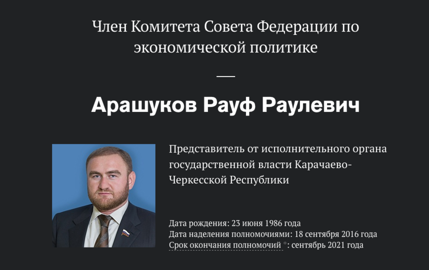 "Рауф Арашуков. Фото http://council.gov.ru/, ""Metro"""