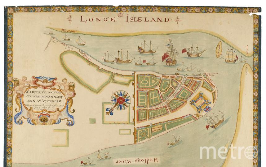 Карта острова Манхэттен к югу от современной Уолл-стрит, Нью-Йорк. Фото Getty