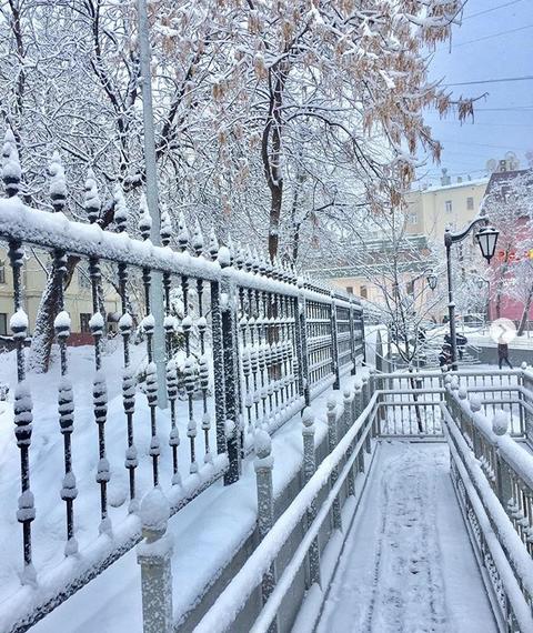 Снежная Москва. Фото Скриншот instagram.com/pavelt2007/