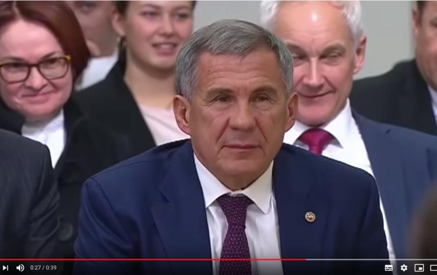 Путин добавил с улыбкой: Не будем ставить руководителя республики в сложное положение. Он не слышал, о чём мы говорили. Фото скриншот https://www.youtube.com/watch?v=STo09dnR8c4
