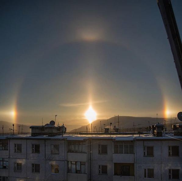 """""""Три солнца"""", гало. Фото Скриншот instagram.com/viktor.chuk/"""