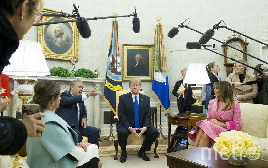 Дональд и Мелания Трамп, президент Колумбии. Фото Getty