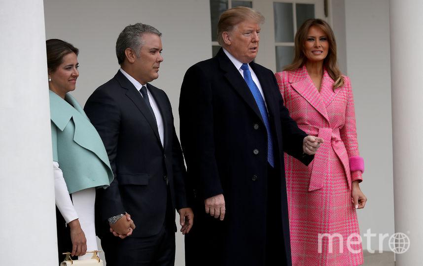 Чета Трамп встречает президента и первую леди Колумбии. Фото Getty