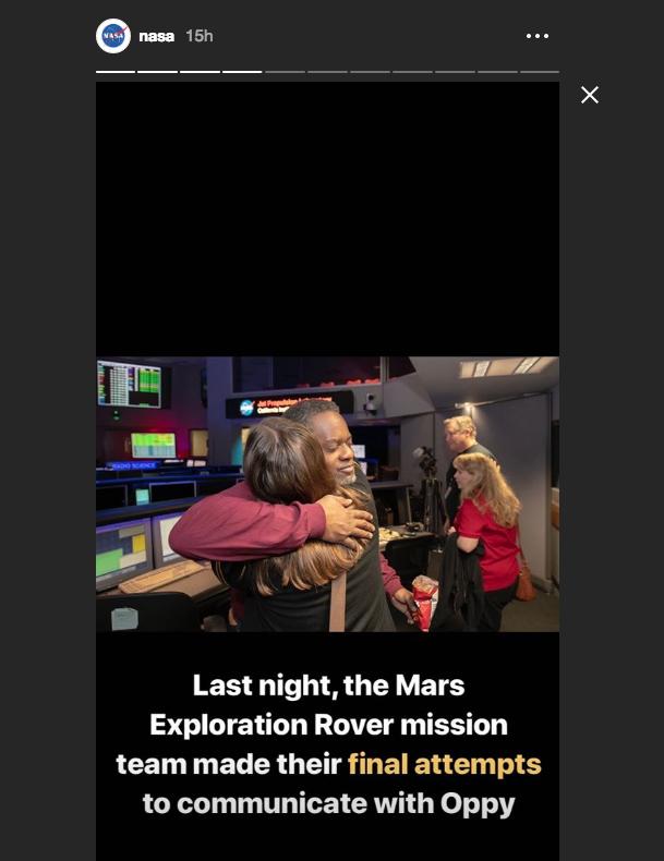 "В НАСА попрощались с марсходом Opportunity. Фото https://www.instagram.com/stories/nasa/, ""Metro"""