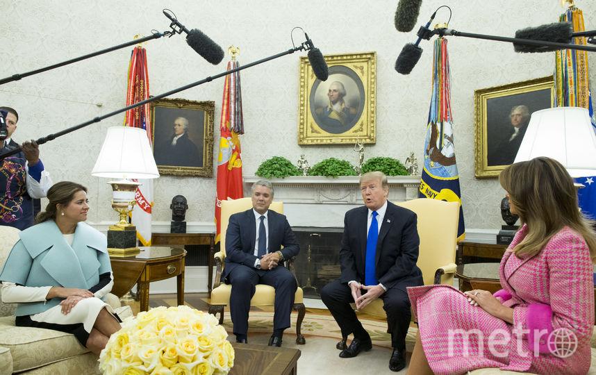 Дональд и Мелания Трамп в Белом доме во время визита президента Колумбии. Фото Getty