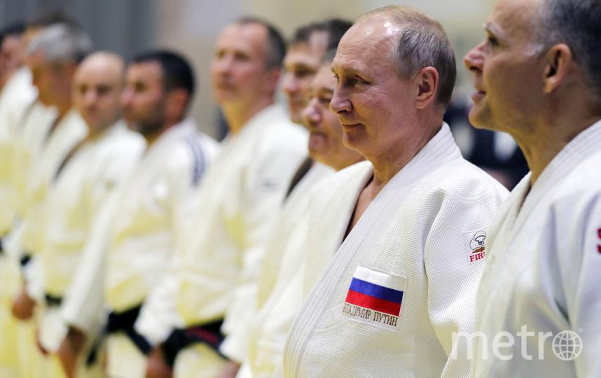 Владимир Путин на тренировке по дзюдо. Фото AFP