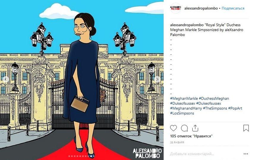 Меган Маркл. Рисунок. Фото Скриншот https://www.instagram.com/alexsandropalombo/