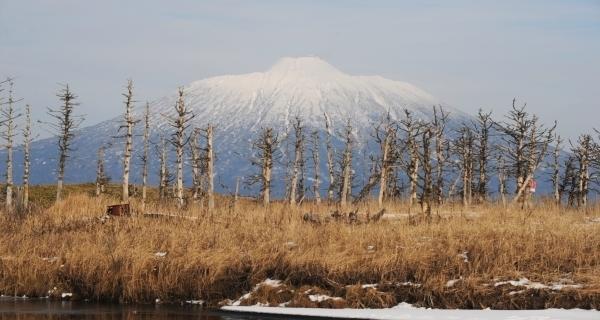 Действующий вулкан Тятя на острове Кунашир.