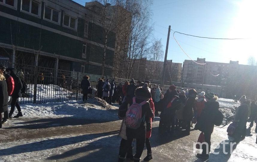 Эвакуация школы 22 февраля. Фото vk.com/spb_today, vk.com