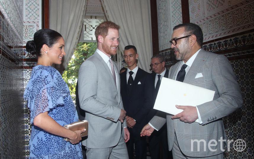 Меган Маркл, принц Гарри и король Марокко Мухаммед VI. Фото Getty
