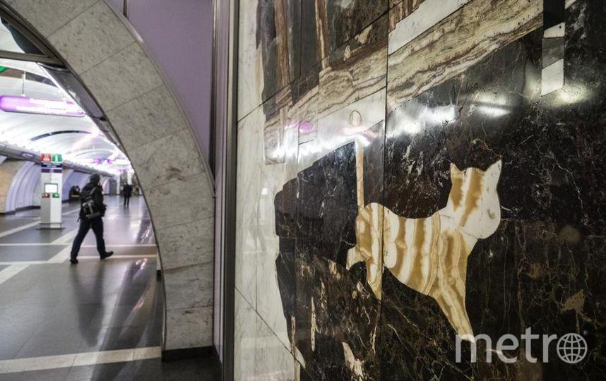"""Приглядитесь к мозаичным панно в подземке: погладить кота – это на счастье. Станция «Волковская». Фото Святослав Акимов, """"Metro"""""""