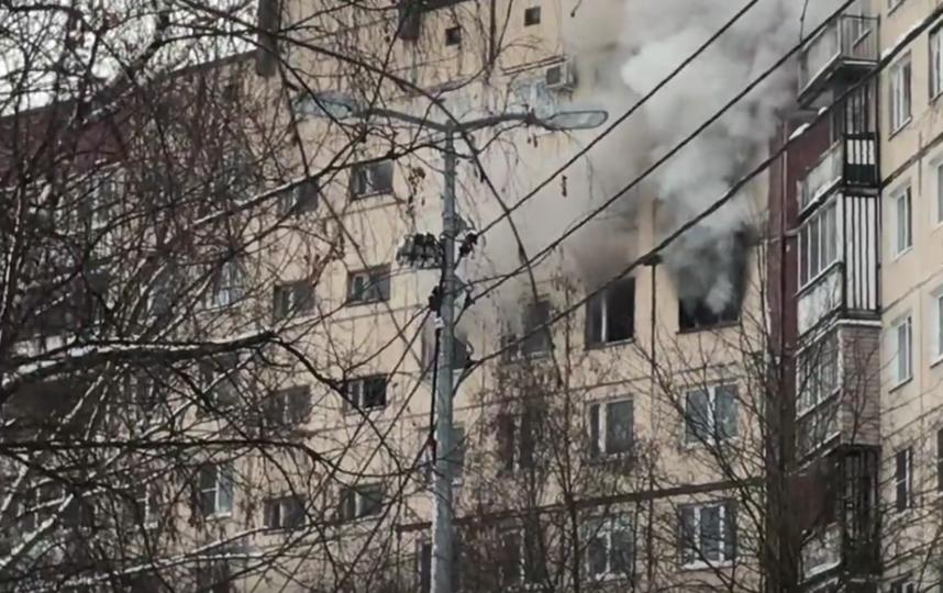 Пожар на улице Ленской, № 10, корпус № 1. Фото https://vk.com/spb_today
