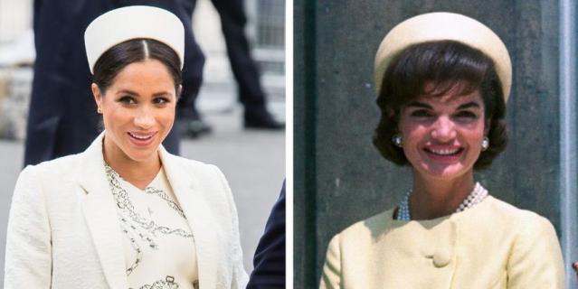 Шляпка-таблетка на Меган Маркл и на Жаклин Кеннеди.