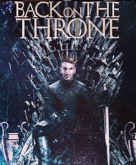 В одном из мемов Зидана усадили на трон из «Игры престолов», у подножия которого стоят кубки. Фото Это и другие фото – мемы из instagram
