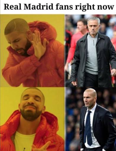 Ходили слухи, что «Реал» хочет пригласить Жозе Моуринью, но «сливочные» предпочли Зидана. Это породило мем под заголовком «Фанаты «Реал Мадрида» прямо сейчас». Фото Это и другие фото – мемы из instagram