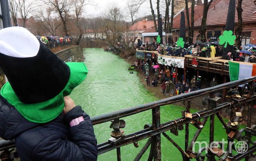 В Вильнюсе (Литва) также окрасили реку. Фото AFP