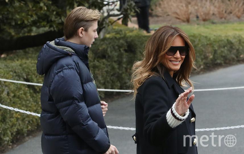 Бэррон Трамп с родителями. Фото марта 2019 года. Фото Getty