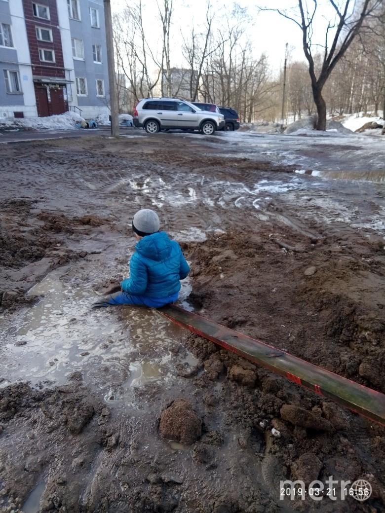 В Выборге ребёнка засосало в яму с водой и глиной. Фото pitereshaet, vk.com