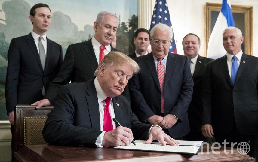 Дональд Трамп признал суверенитет Израиля над Голанами. Фото Getty
