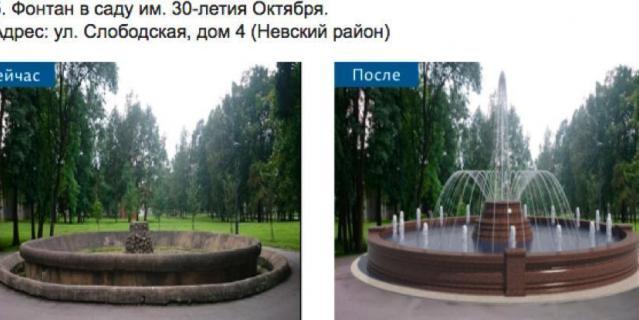 Фонтан в саду имени 30-летия Октября.