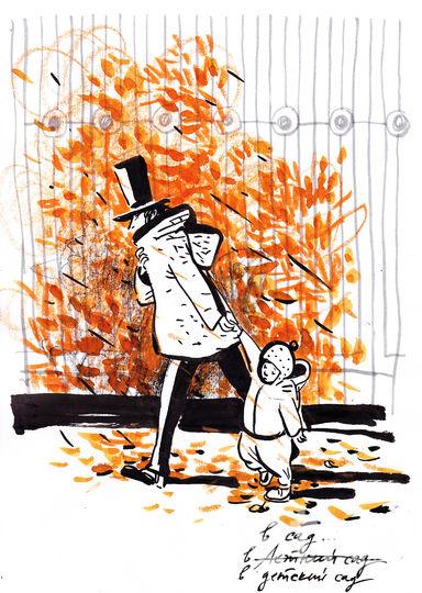 Пушкин ведёт ребёнка в детский сад. Фото предоставлено Евгенией Двоскиной.