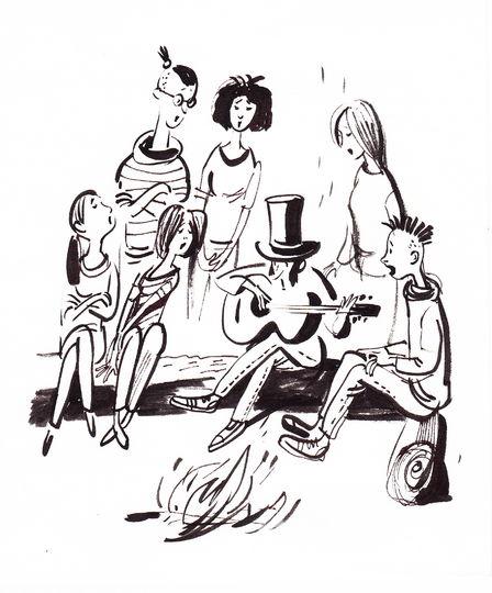 Пушкин играет на гитаре в окружении поклонниц. Фото предоставлено Евгенией Двоскиной.