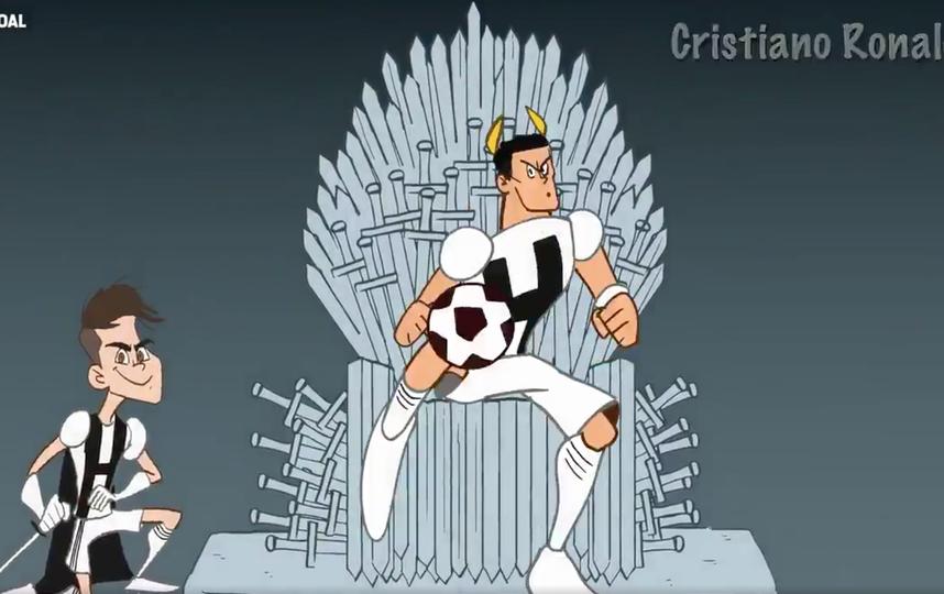 Роналду на железном троне из «Игры престолов». Фото скриншот с видео goal.com
