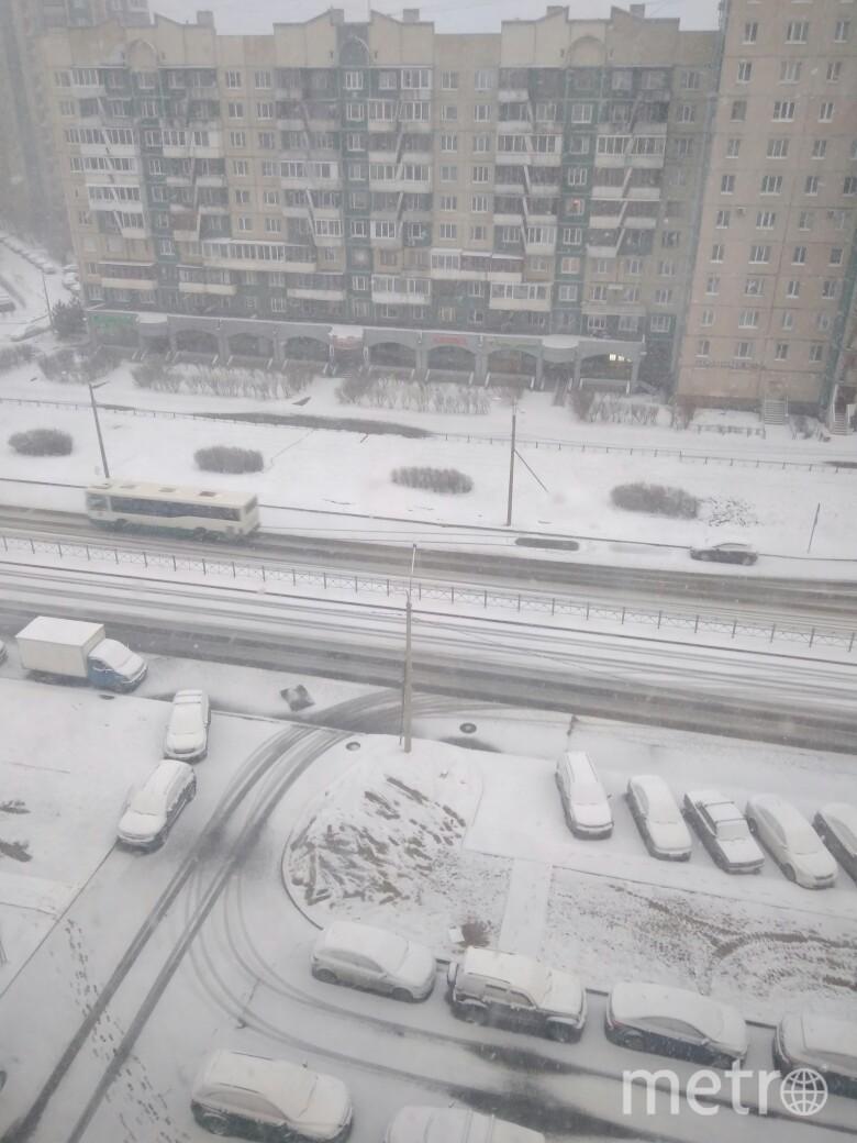 """Город накрыло снегом 11 апреля и это никого не радует. Фото https://vk.com/spb_today?z=photo-68471405_456779244%2Fwall-68471405_10882504, """"Metro"""""""