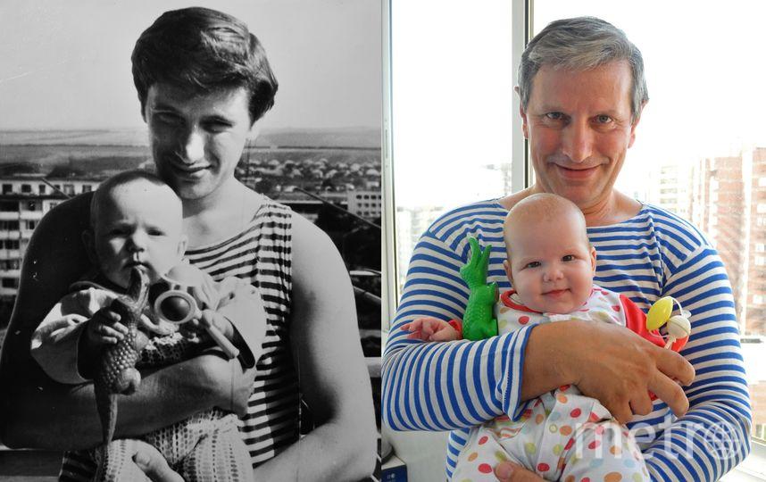 """Семейные традиции живы! Слева на фото папа со мной -шестимесячной- на руках в далеком 1982 году. И ровно через тридцать лет он же, но с моей дочкой, своей внучкой. А крокодил на фото тот же самый - родители бережно хранили наши игрушки. Фото Ольга  Александровна Ярославцева, """"Metro"""""""