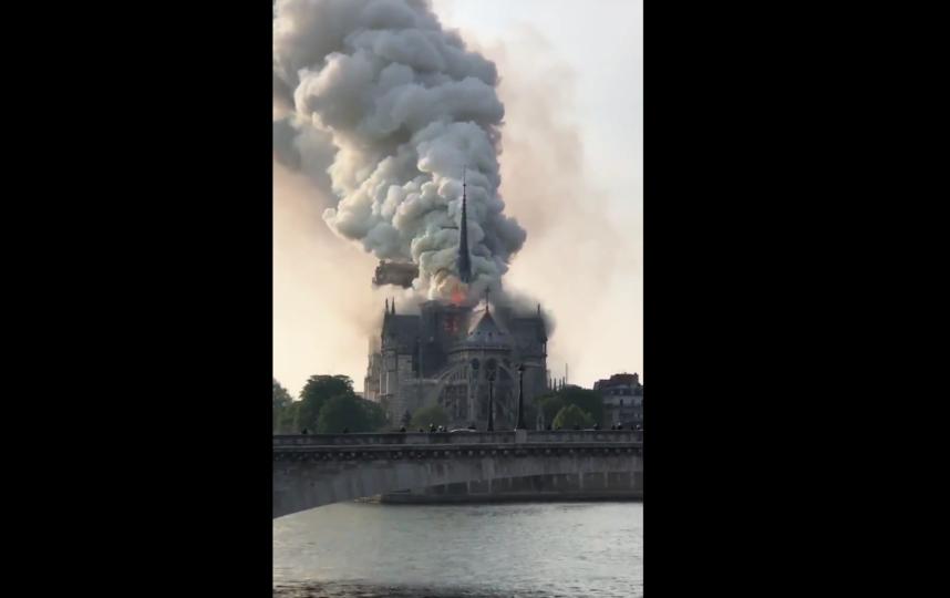 В соборе Парижской Богоматери произошел пожар. Фото скриншот видео https://twitter.com/ccasacub