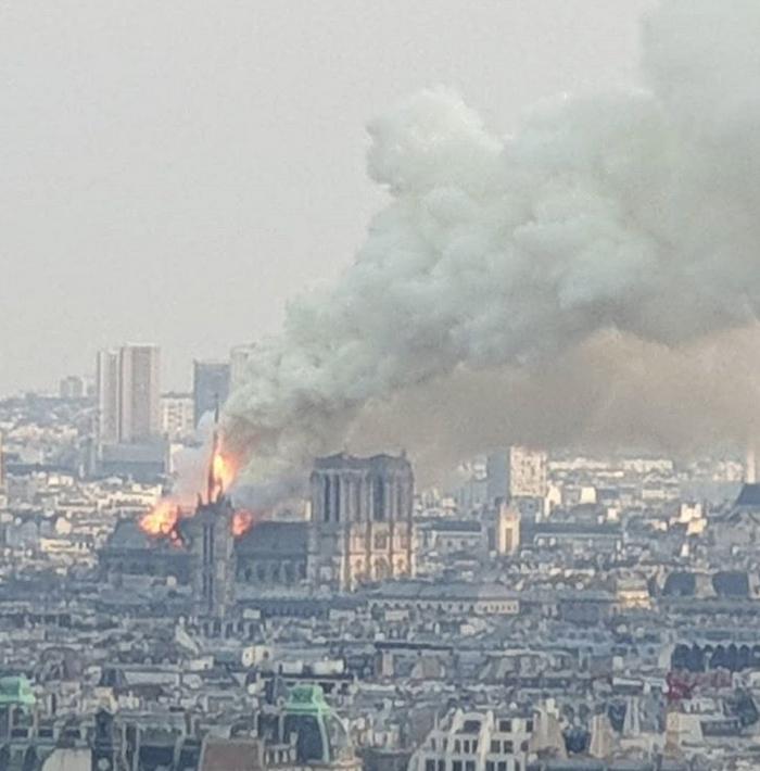 В соборе Парижской Богоматери произошел пожар. Фото скриншот https://www.instagram.com/timomarjomaki/