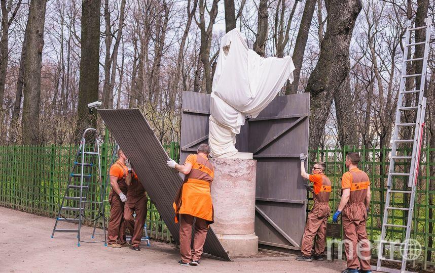 """Скульптуры помыты и раздеты. Полюбоваться на них можно в Летнем саду с 1 мая. Фото https://igardens.ru/sculptures_summer_garden/, """"Metro"""""""