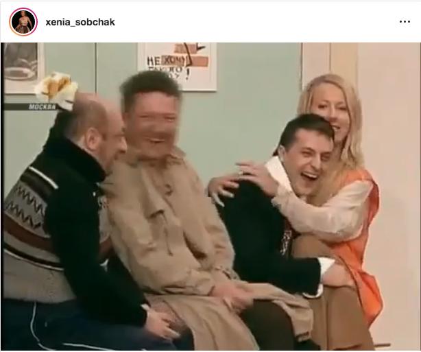 "Собчак на коленях у Зеленского оказалась на съемках телепередачи. Фото скрин-шот, ""Metro"""