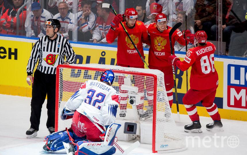 Связка Никиты Кучерова и Никиты Гусева сработала в эпизоде со вторым голом сборной России. Фото AFP