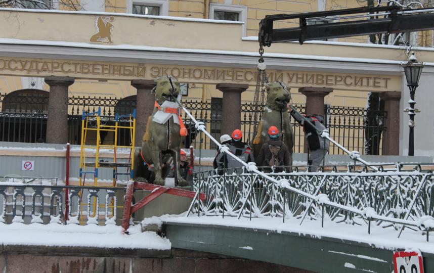 """Крылатые львы впервые за 200 лет покинули Банковский мост в январе 2017 года.. Фото gov.spb.ru, """"Metro"""""""