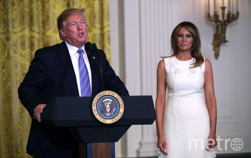 Дональд Трамп и Мелания Трамп в белом. Фото Getty