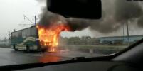 Автобус с рабочими охватил огонь в Петербурге: фото, видео